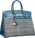 Luxury Accessories:Bags, Hermes 35cm Blue Thalassa Calf Box & Vibrato Leather Birkin Bagwith Brushed Gold Hardware . Very Good to ExcellentCondit...