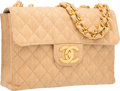 """Luxury Accessories:Bags, Chanel Natural Quilted Jute Jumbo Single Flap Bag with GoldHardware. Very Good Condition. 12"""" Width x 8"""" Height x 3""""..."""