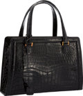 """Luxury Accessories:Bags, Hermes Shiny Black Crocodile Pullman Bag with Gold Hardware. Good Condition. 12"""" Width x 8"""" Height x 3"""" Depth. ..."""
