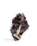 Minerals:Small Cabinet, Enargite with Baryte. Leonard Mine, Butte District (Summit Valley District). Silver Bow County. Montana, USA. 2.5 x 1.75 x...