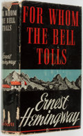 """Books:Literature 1900-up, Ernest Hemingway. For Whom the Bell Tolls. New York: CharlesScribner's Sons, 1940. First edition with letter """"A"""" on..."""
