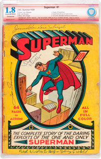 Superman #1 Verified Signature -- Signed By Siegel, Shuster, and Others (DC, 1939) CBCS Conserved GD- 1.8 Cream to off-w...