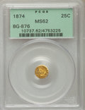 California Fractional Gold: , 1874 25C Indian Round 25 Cents, BG-876, Low R.4, MS62 PCGS. PCGSPopulation (14/78). NGC Census: (3/10). ...