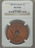 Belgian Congo, Belgian Congo: Belgian Colony. Leopold II 10 Centimes 1888 MS64 Redand Brown NGC,...