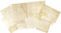 """Miscellaneous:Ephemera, Grouping of Twelve Late 18th Century American Business Documents,included are the following:. Listing of """"ruffled shirts...(Total: 12 Items)"""