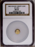 California Fractional Gold: , 1865 25C Liberty Round 25 Cents, BG-803, High R.5, MS62 NGC. PCGSPopulation (3/13). (#10664)...