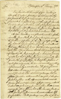 "Military & Patriotic:Revolutionary War, 1781 Charles Pettit Letter to George Washington Concerning Spurs.Two pages, 7.75"" x 12.75"", Philadelphia, February 9, 1781,..."