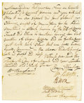 "Autographs:Statesmen, William Paterson and Henry Knox Manuscript Document Signed ""WmPaterson,"" ""H Knox,"" ""Benjn Henfrey,"" ""WmBingh..."