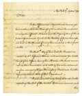 "Autographs:Statesmen, John Jay Historic Manuscript Letter Signed ""John Jay,"" threepages, 7.25"" x 9"", front and verso. New York, September..."