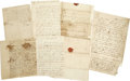 """Miscellaneous:Ephemera, Archive of Colonial Pennsylvania Correspondence. A lot of fiveletters dating from 1755 to 1769, including: a one page, 6"""" x...(Total: 5 Items)"""