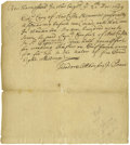 "Miscellaneous:Ephemera, 1699 New Hampshire Autograph Document Signed ""TheodoreAttkinson, J: Peace"". One page, 7.75"" x 9"", ""New Hampshirein N..."