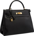 """Luxury Accessories:Bags, Hermes 32cm Black Calf Box Leather Retourne Kelly Bag with Gold Hardware . Good to Very Good Condition . 12.5"""" Width x..."""