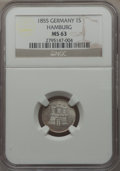 German States:Hamburg, German States: Hamburg. Free City Sechsling 1855 MS63 NGC,...