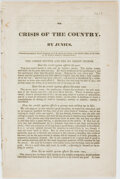 Books:Americana & American History, [Calvin Cotton]. The Crisis of the Country. By Junius.[Philadelphia: N.p., 1840]....