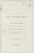 Books:Americana & American History, Robert Henry. Address Delivered Before the Clariosophic Societyof the South Carolina College, at the Dedication of Thei...