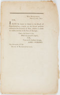 Books:Americana & American History, [United States]. War Department, February 20th, 1800. Sir, IHave the Honor to Submit to the House of Representatives, a...