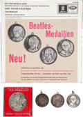 Music Memorabilia:Memorabilia, Beatles Rare Sterling Silver Medal and Three Individual Medallions with Picture Sleeve Advertisement (UK & Germany, 1965, 1967...