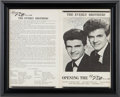 Music Memorabilia:Autographs and Signed Items, Everly Brothers Signed Handbill from the Bronco Bowl in Dallas,Texas....
