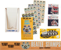 Music Memorabilia:Memorabilia, Beatles Vintage Stamp Groups (Three), One with Original Display and Promotional Banner (US, Sweden, & Holland, Circa 1964). ...