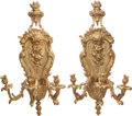 Decorative Arts, French:Lamps & Lighting, A Pair of Regence-Style Gilt Bronze Three-Light Wall Sconces, 20thcentury. 33 inches high x 19 inches wide (83.8 x 48.3 cm)...(Total: 2 Items)