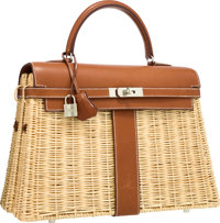 Hermes Limited Edition 35cm Natural Barenia Leather & Wicker Picnic Kelly Bag with Palladium Hardware Very Good...