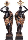 Decorative Arts, Continental:Other , A Pair of Venetian Carved Polychrome Life-Size Blackamoors, 19thcentury. 77 inches inches high (195.6 cm). ... (Total: 2 Items)