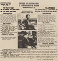 "Other:Western, Bonnie & Clyde ""Public Enemy #1,"" Genuine FBI Wanted Poster,May 21, 1934. 7-1/2 x 7-1/4 inches (19.1 x 18.4 cm) (sight)..."