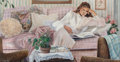 Fine Art - Painting, American:Contemporary   (1950 to present)  , Susan Rios (American, 20th Century). Private Thoughts, 1990.Acrylic on canvas. 18 x 34 inches (45.7 x 86.4 cm). Signed ...