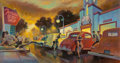 Fine Art - Painting, American:Contemporary   (1950 to present)  , Michael Young (American, 20th Century). Terrace Body Shop,1991. Acrylic on board. 26 x 48 inches (66.0 x 121.9 cm). Sig...