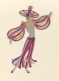 Fine Art - Work on Paper:Drawing, Erté (Romain de Tirtoff) (Russian/French, 1892-1990). LaCleopatra, costume design for Les Garcon. Gouache on paper.13-...