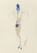 Fine Art - Work on Paper:Drawing, Erté (Romain de Tirtoff) (Russian/French, 1892-1990). LeConditionnel Passé, costume design. Gouache on paper. 12 x8-1/...