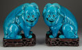 Asian:Chinese, A Pair of Chinese Blue Glazed Foo Lions on Stands, 20th century.12-1/4 inches high (31.1 cm). ... (Total: 4 Items)