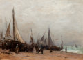 Fine Art - Painting, European:Antique  (Pre 1900), Georges Ricard-Cordingley (French/American, 1873-1939). Work onthe Shore. Oil on canvas. 20 x 27 inches (50.8 x 68.6 cm...
