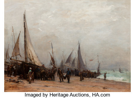 Georges Ricard-Cordingley (French/American, 1873-1939)Work on the ShoreOil on canvas20 x 27 inches (50.8 x 68.6 cm...
