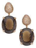 Estate Jewelry:Earrings, Diamond, Smoky Quartz, Gold Earrings . ...