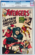 Silver Age (1956-1969):Superhero, The Avengers #4 (Marvel, 1964) CGC FN- 5.5 Off-white to white pages....