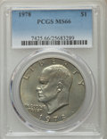 Eisenhower Dollars, 1978 $1 MS66 PCGS. PCGS Population (374/5). NGC Census: (149/5). Mintage: 25,702,000. Numismedia Wsl. Price for problem fre...