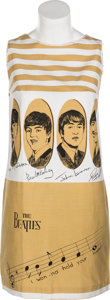 Music Memorabilia:Memorabilia, A Tan and White Cotton Beatles Dress (Holland, 1960s)....