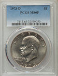 Eisenhower Dollars, 1973-D $1 MS65 PCGS. PCGS Population (1345/307). NGC Census: (416/69). Mintage: 2,000,000. Numismedia Wsl. Price for proble...