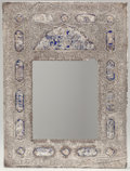 Silver Holloware, Continental:Holloware, A Judaica Silver and Enameled Mirror, circa 1900. Marks: SILVER,970. 22 inches high x 16 inches wide (55.9 x 40.6 cm). ...
