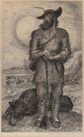 Works on Paper, John Steuart Curry (American, 1897-1946). The Plainsman, 1945. Stone lithograph. 15-1/2 x 9-1/2 inches (39.4 x 24.1 cm) ...
