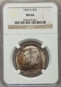 Kennedy Half Dollars, 1969-D 50C MS66 NGC. NGC Census: (121/4). PCGS Population (132/6).Mintage: 129,881,800. Numismedia Wsl. Price for problem ...
