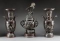Asian:Japanese, A Pair of Japanese Meiji Period Patinated Bronze Vases and Censor,late 19th century. 19-1/2 inches high (49.5 cm) (urns). ... (Total:3 Items)