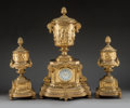 Timepieces:Clocks, A Three Piece Lenoir Louis XVI-Style Gilt Bronze Double-Face Clock Garniture, late 19th century. Marks to face: LENOIR A. ... (Total: 5 Items)