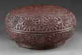 Asian:Chinese, A Chinese Cinnabar Box, late 19th century. 6 inches high x 12inches diameter (15.2 x 30.5 cm). ...