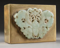 Asian:Chinese, A Chinese Brass and Jade Box: Moth. 2 inches high x 4-3/4inches wide x 3-5/8 inches deep (5.1 x 12.1 x 9.2 cm)...