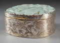 Asian:Chinese, A Large Chinese Silvered Metal and Jade Box. 1-7/8 inches high x4-1/8 inches wide x 3-5/8 inches deep (4.8 x 10.5 x 9.2 cm)...