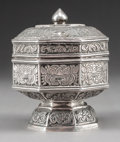 Asian:Chinese, An Asian Silvered Covered Footed Box, circa 1900. Marks:D-AC. 3-1/4 inches high (8.3 cm). ...