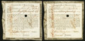 Colonial Notes:Massachusetts, Massachusetts Treasury Certificate January 1, 1782 Anderson MA-31Two Examples Very Fine-Extremely Fine, HOC.. ... (Total: 2 notes)