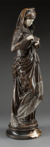Bronze:European, Albert-Ernest Carrier-Belleuse (French, 1824-1887). La Liseuse. Silvered bronze and ivory. 24 inches high (61.0 cm). Ins...